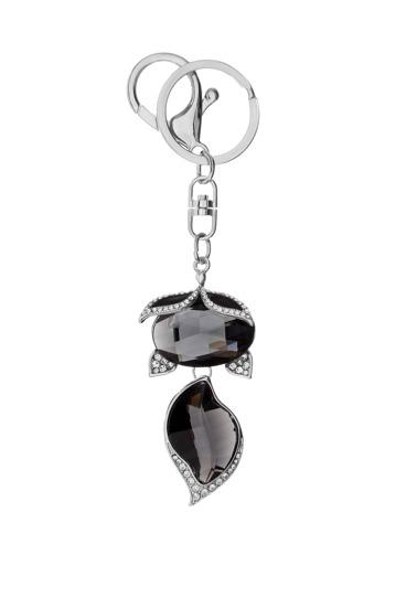 Silver Trim Black Crystal Fox Pendant Keychain