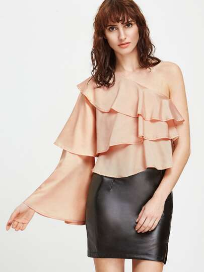 Pink One Schulter Ruffle Layered Bluse
