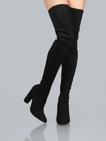 Suede Pointed Thigh Boots BLACK