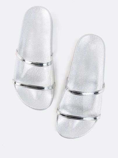Metallic Lined Transparent Sandals SILVER