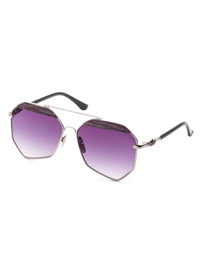 Gold Frame Double Bridge Purple Polygon Lens Sunglasses