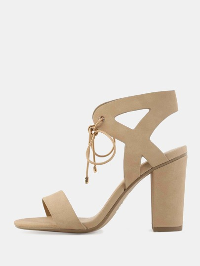 Laced Open Toe Cut Out Heels NATURAL