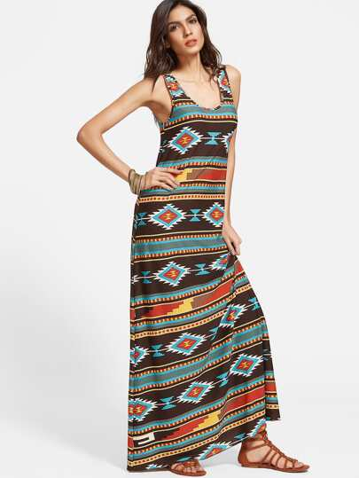 Multicolore Tribal Impression Col V Neck Dress