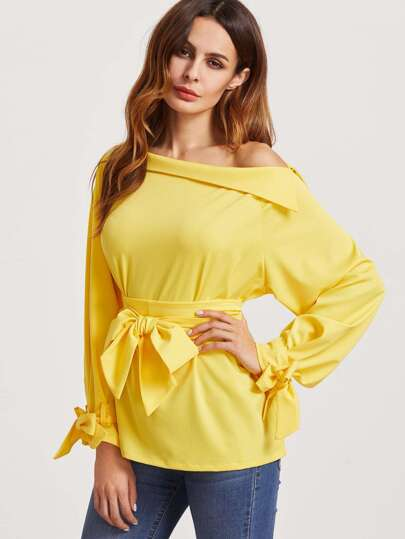 Yellow Foldover Boat Neck Belted Waist And Cuff Blouse