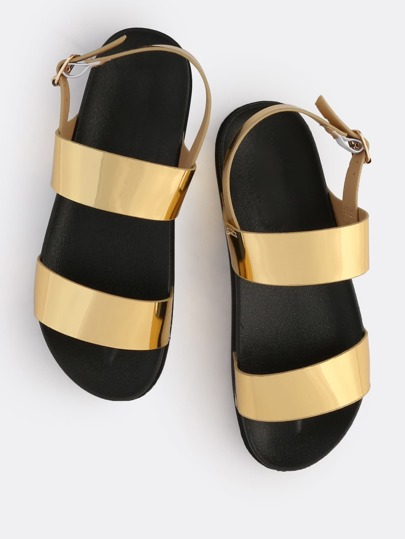 Metallic Open Toe Chunky Sandals GOLD