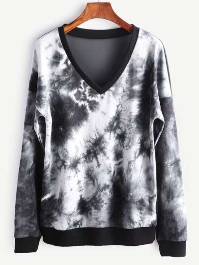 Black And White Tie Dye Print Sheer Mesh Back Sweatshirt