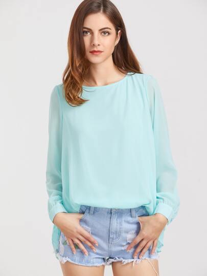 Blusa con espalda plisada - turquesa