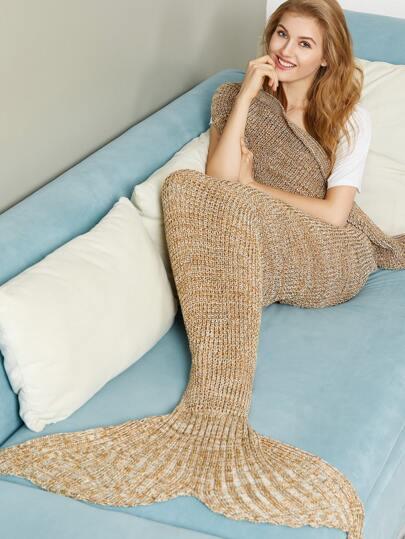 Kaffee Marled Knit Meerjungfrau Schwanz Decke