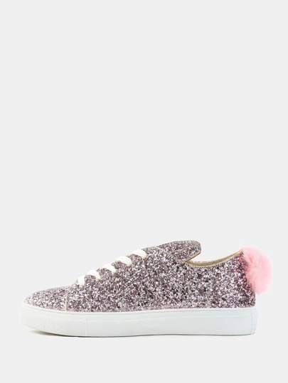 Glitter Pom Tail Sneakers PINK