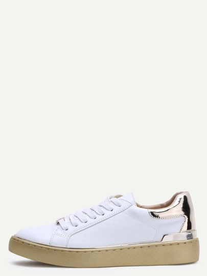 Gold Contrast Trim Round Toe Lace Up PU Sneakers