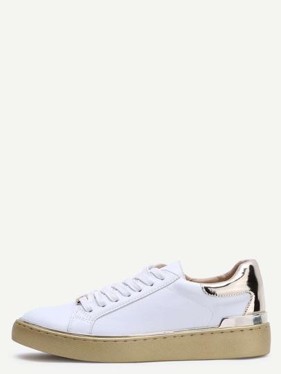 L'oro bordo a contrasto punta rotonda Lace up PU scarpe da tennis
