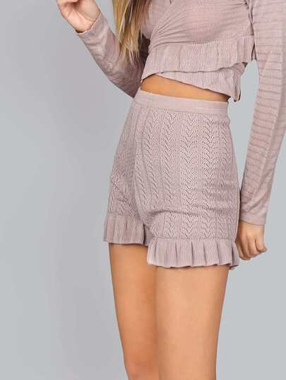 Ruffle Knit Shorts ROSE