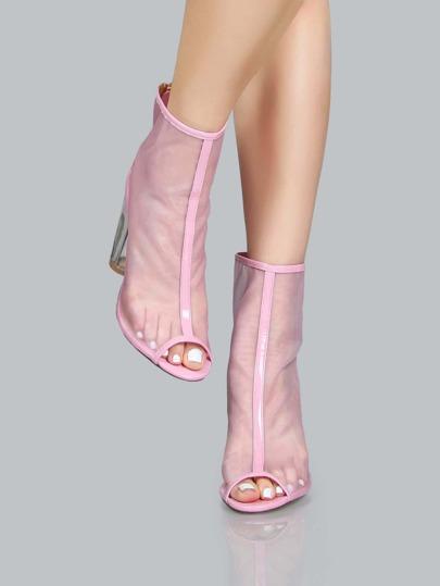 Mesh Perspex Heel Peep Toe Booties PINK