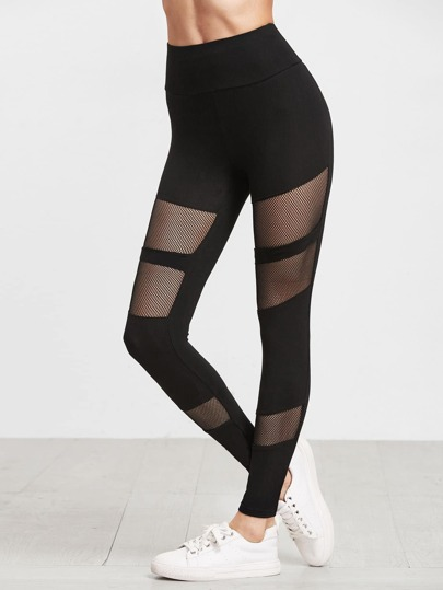 Black Fishnet Insert Leggings
