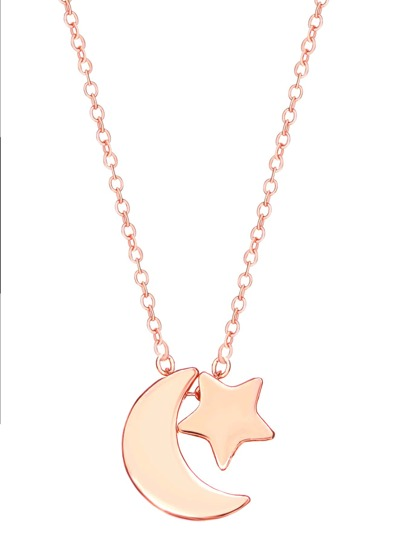 Rose Gold Plated Star And Moon Pendant Necklace