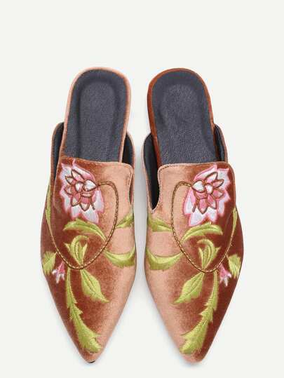 Brown Floral Embroidered Velvet Loafer Slippers