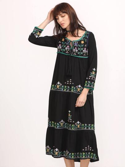 Black Embroidery Tassel Tie Neck Tiered Dress
