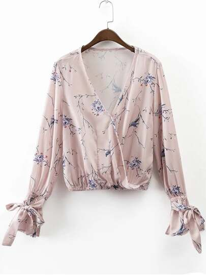 Plunge Tie Bell Cuff Floral Print Draped Blouse