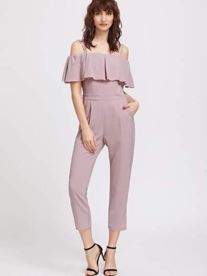 Фиолетовый модный комбинезон со сборкой и открытыми плечами