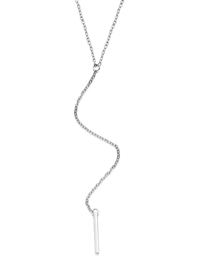 Silver Bar Pendant Y Link Necklace