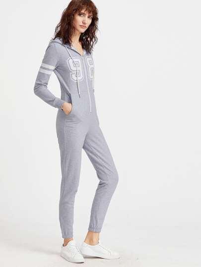 Heather Grey Uni-Druck-Kapuzen-Sweatshirt-Overall