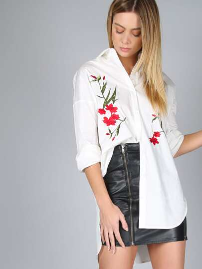 Flower Embroidered Curved Hem Blouse