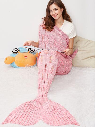 Pink Marled Knit Distressed Mermaid Tail Blanket