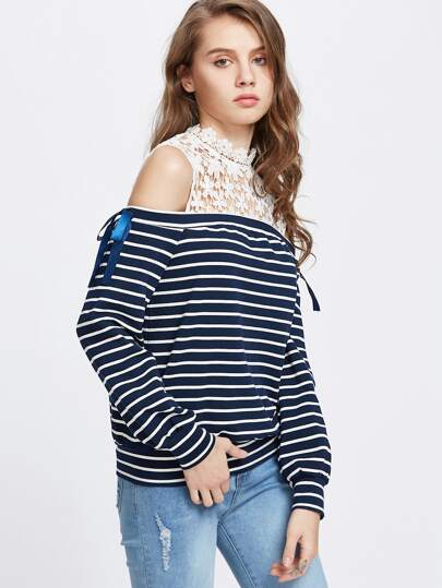 Striped Contrast Floral Lace Open Shoulder Sweatshirt