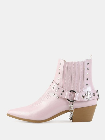 Pointy Toe Ankle Cowboy Boots PINK