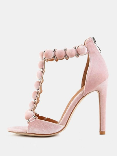 Pastel Pom Pom High Heels BLUSH
