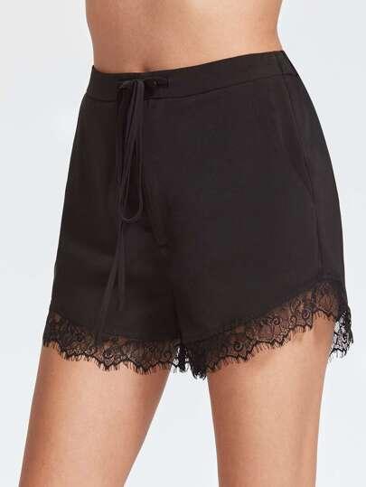 Shorts ribete de encaje cintura con cordón - negro