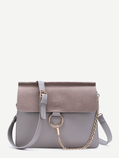Grey Ring Accent Faux Suede Flap Bag