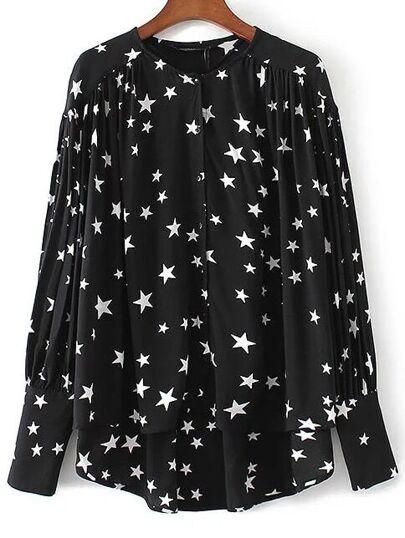 Schwarze Stern-Druck-hohe niedrige Bluse