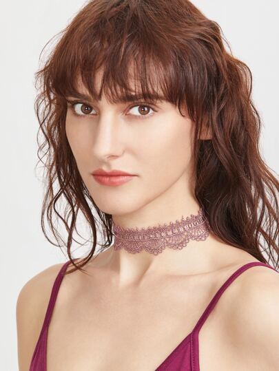 Burgundy Lace Scallop Choker