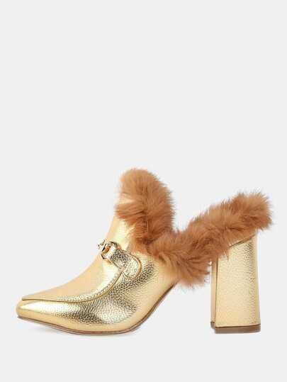 Metallic Fur Loafer Heels GOLD