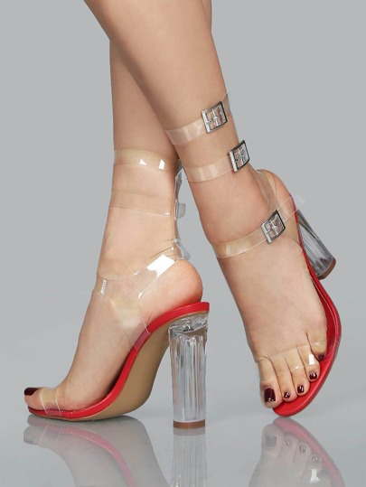 Clear Double Strap Chunk Heel Sandals RED