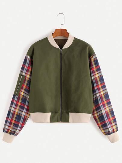 цвета хаки модная куртка с молнией