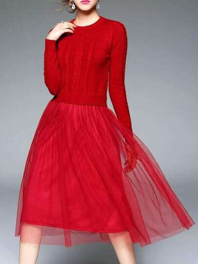 Red Knit Contrast Gauze Combo Dress