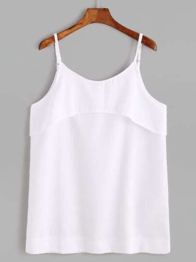 White Spaghetti Strap Layered Cami Top