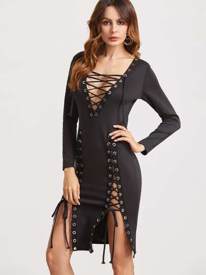 Black Deep V Neck Lace Up Slit Side Sheath Dress