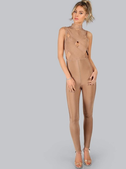 Mock Neck Lattice Sleeveless Jumpsuit CAMEL