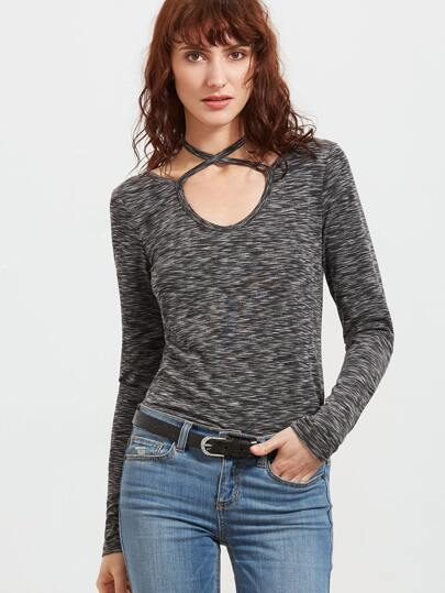 Grey Marled Knit Crisscross Neck Slim Fit T-shirt