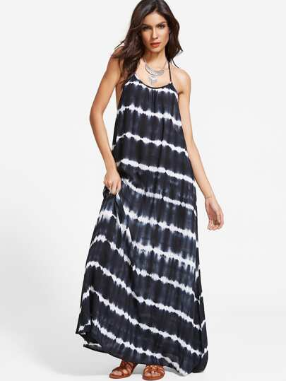 Navy Tie Dye Stripe Print Y Back Maxi Dress