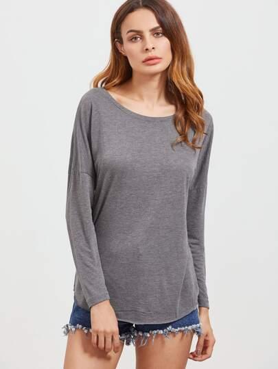 Camiseta con hombro caído y cuello redondo - gris