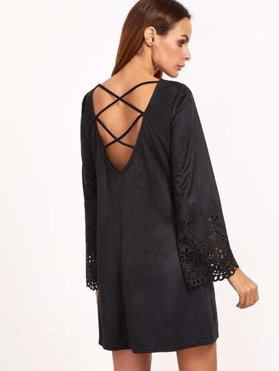 Black Laser Cut Out Criss Cross Back Suede Dress