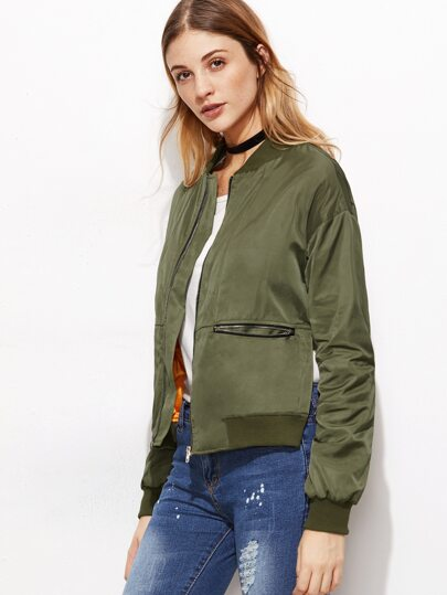 Olive Green Drop Shoulder Side Slit Bomber Jacket