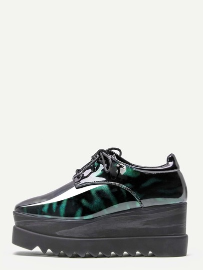 Green Patent Leather Wedge Flatform Derby Shoes