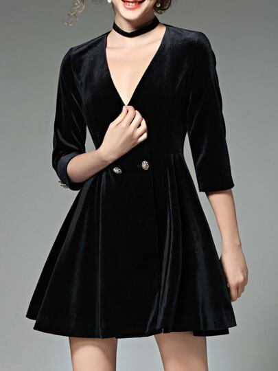 Black Deep V Neck Velvet A-Line Dress