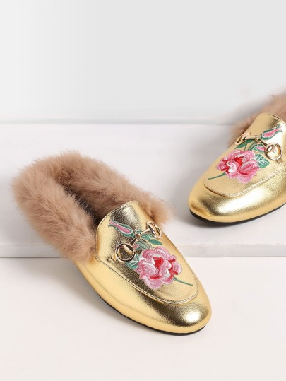 Gold Rose Embroidered Fur Trim Loafer Slippers