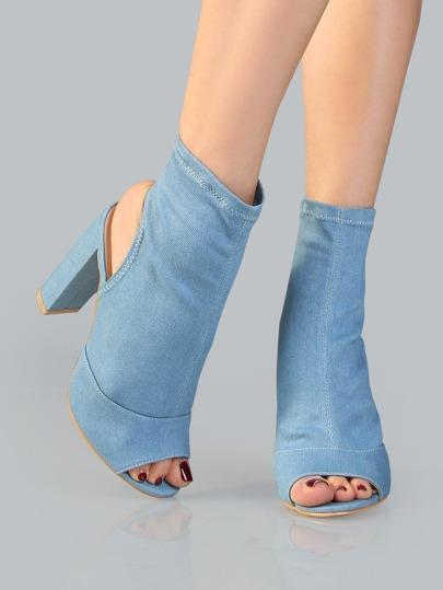 Chunky Heel Denim Ankle Boots DENIM